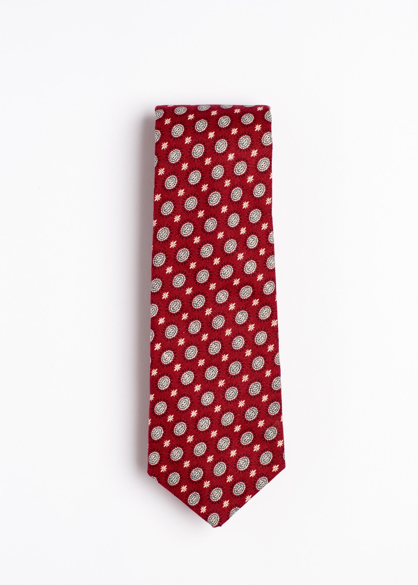 red and white foulard pattern tie - Oxford Square