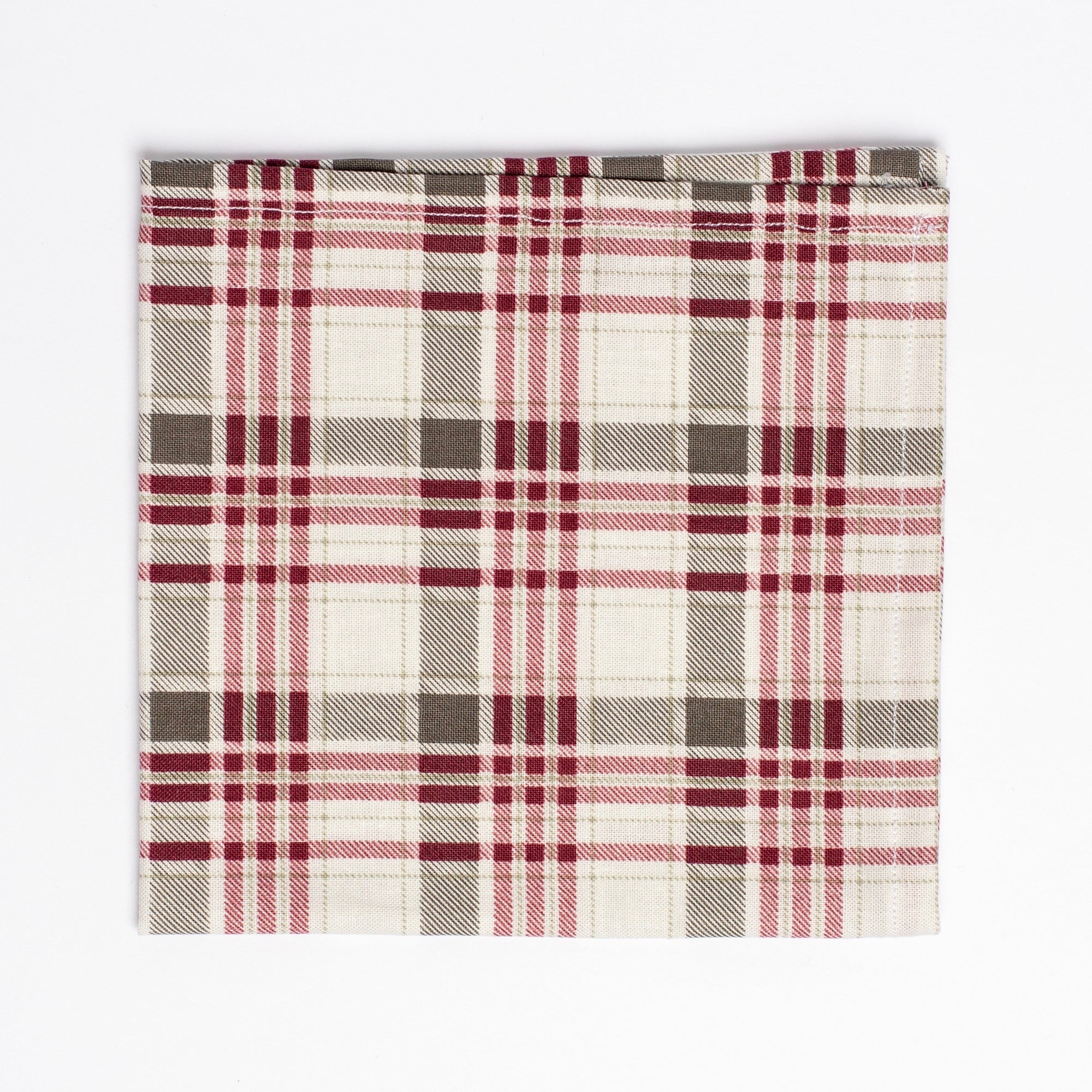 red and grey plaid pattern pocket square - Oxford Square
