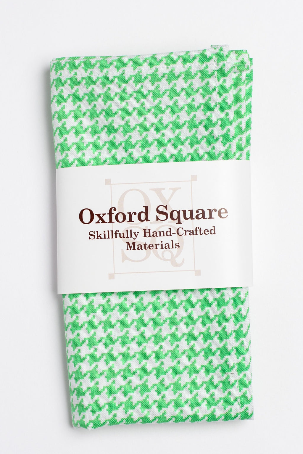green and white houndstooth pattern pocket square - Oxford Square