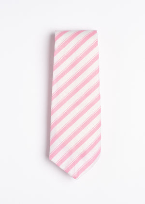 pink and white striped pattern tie - Oxford Square