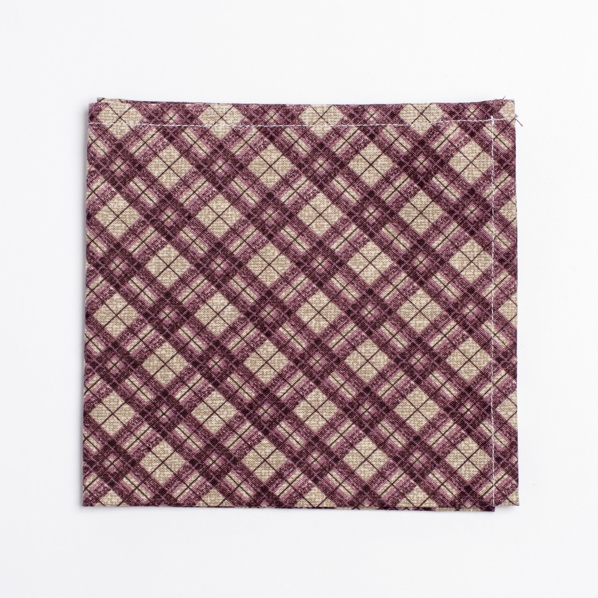 purple and white plaid pattern pocket square - Oxford Square