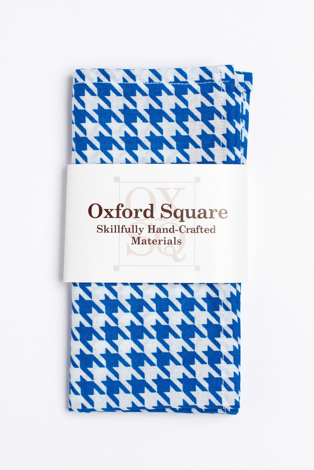 blue and white houndstooth pattern pocket square - Oxford Square
