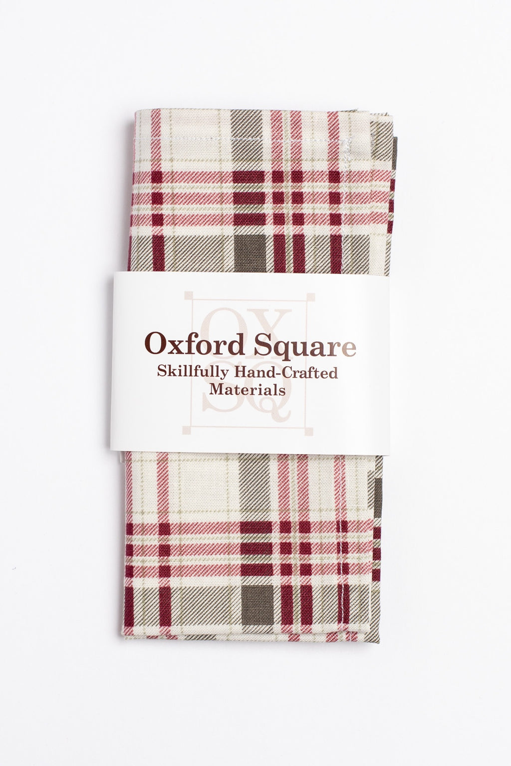 Red and gray plaid pattern pocket square - Oxford Square