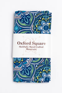 Blue, yellow and green medallion pattern pocket square - Oxford Square