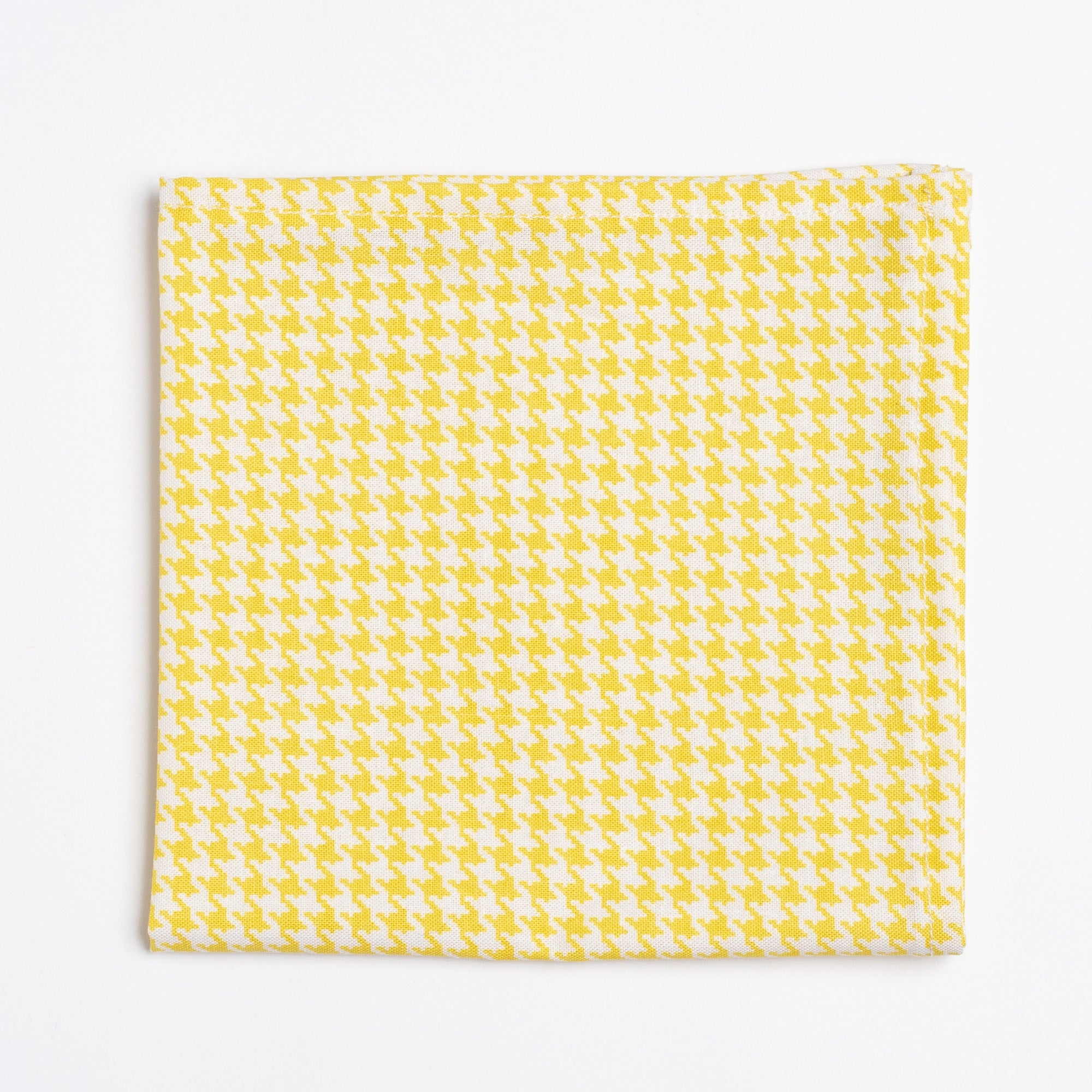 yellow and white houndstooth pattern pocket square - Oxford Square