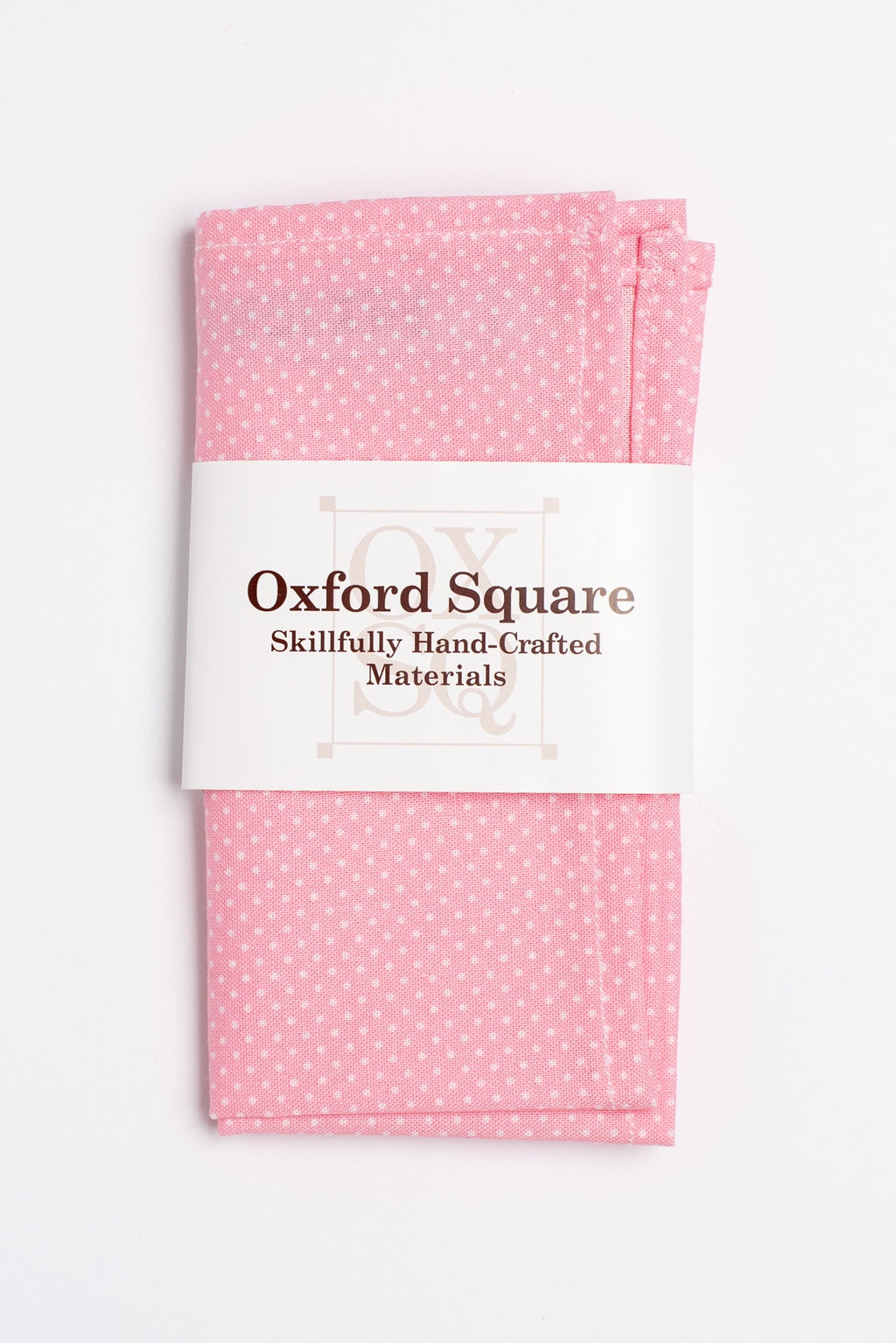 Pink and white polka dot pattern pocket square - Oxford Square