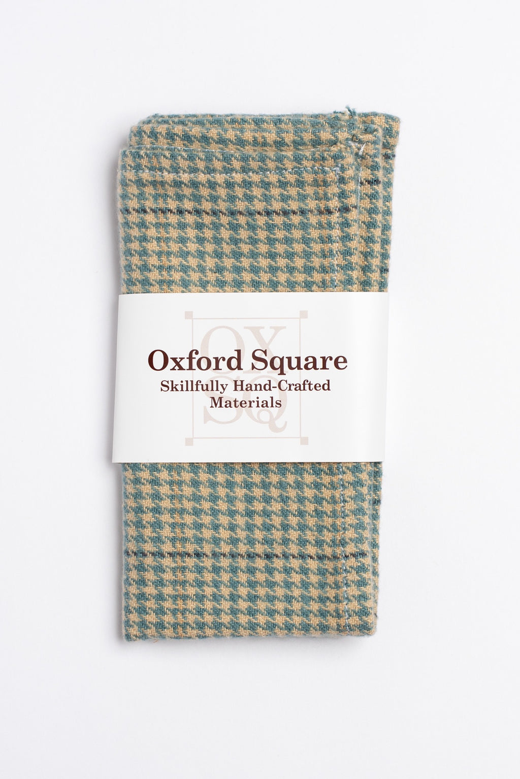 Tan and blue houndstooth pattern pocket square - Oxford Square