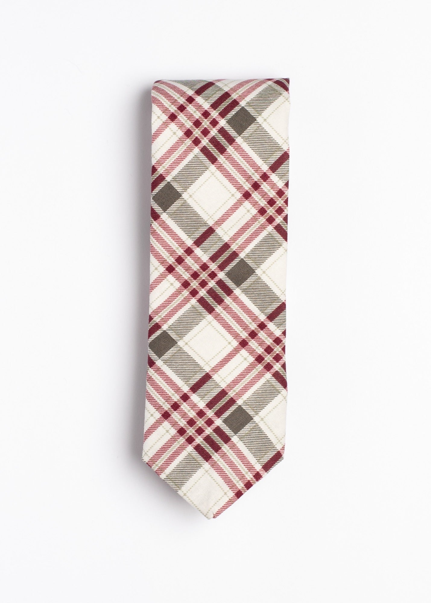 gray, red and white plaid pattern tie - Oxford Square