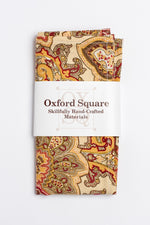 Tan and Red Paisley Pattern Pocket Square - Oxford Square