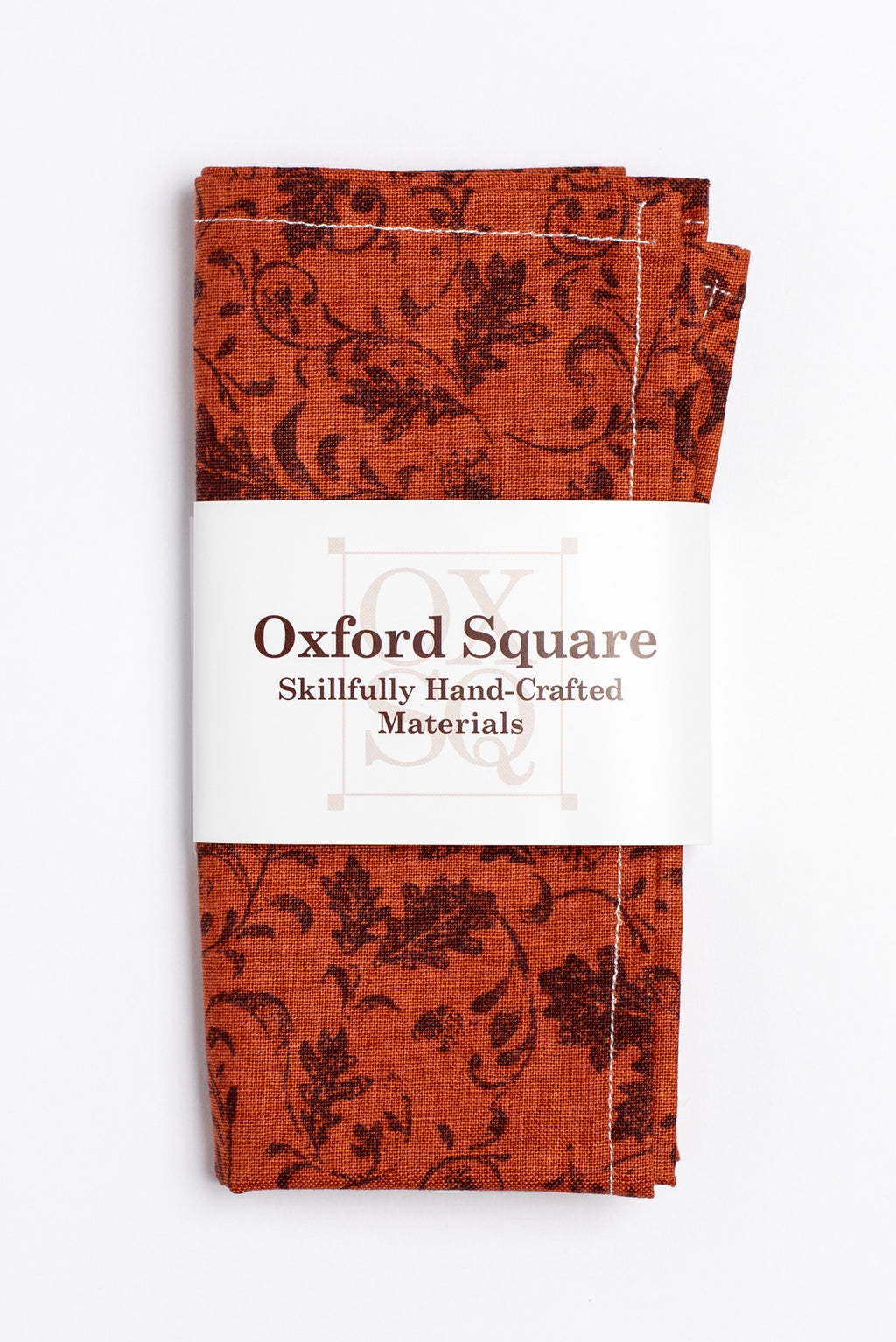 orange and brown floral pattern pocket square - Oxford Square