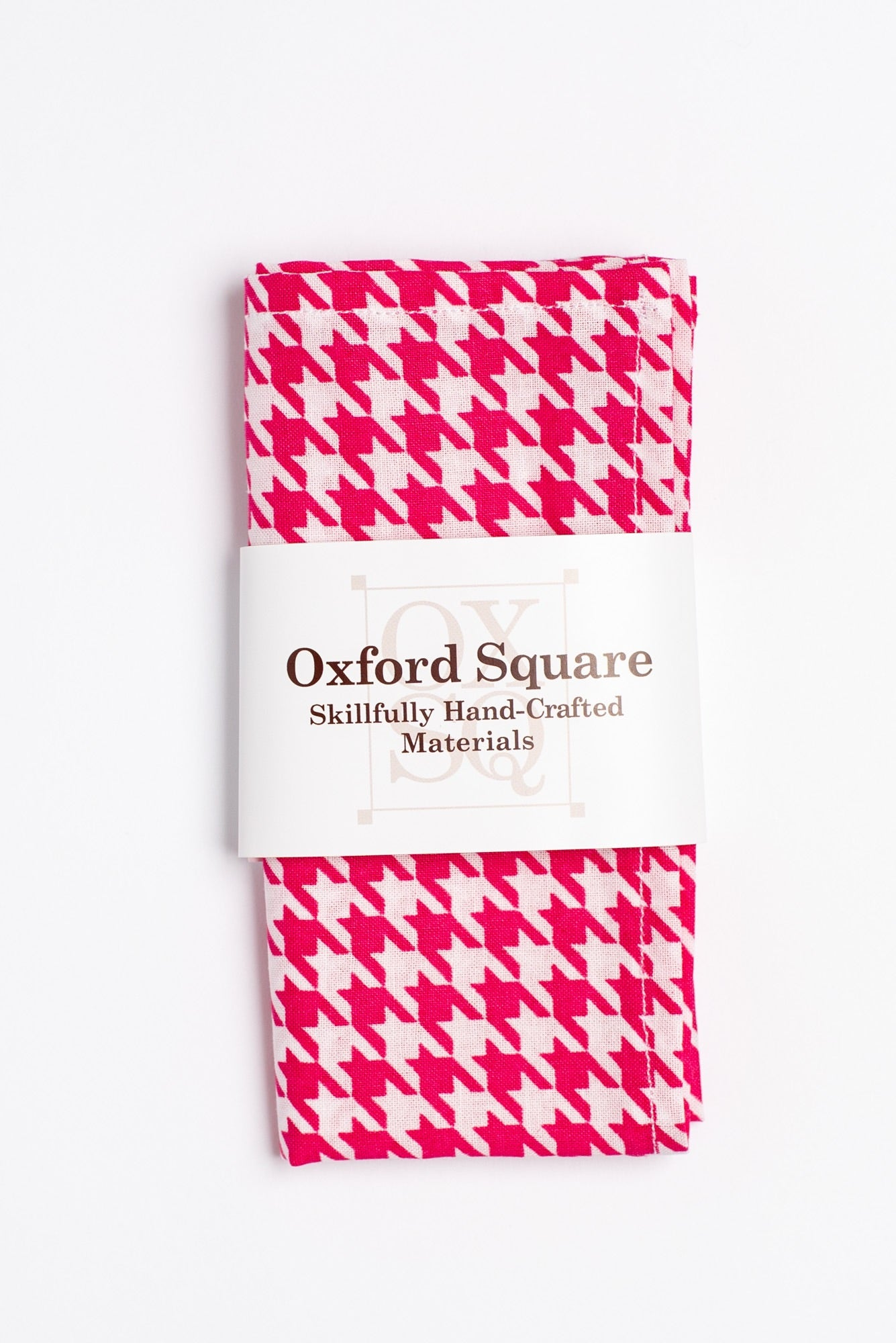 fuchsia and white houndstooth pattern pocket square - Oxford Square