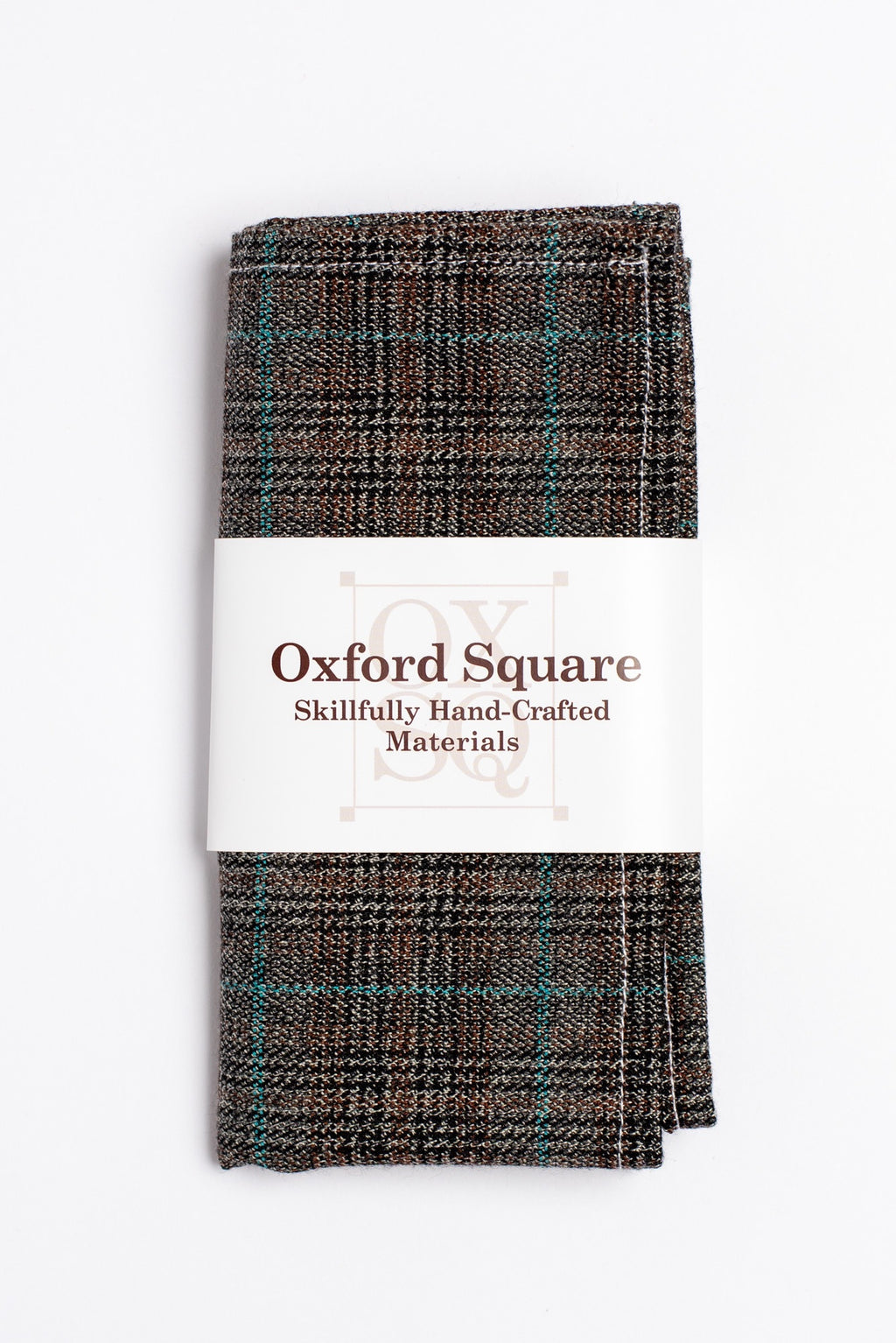 brown and blue plaid pattern pocket square - Oxford Square