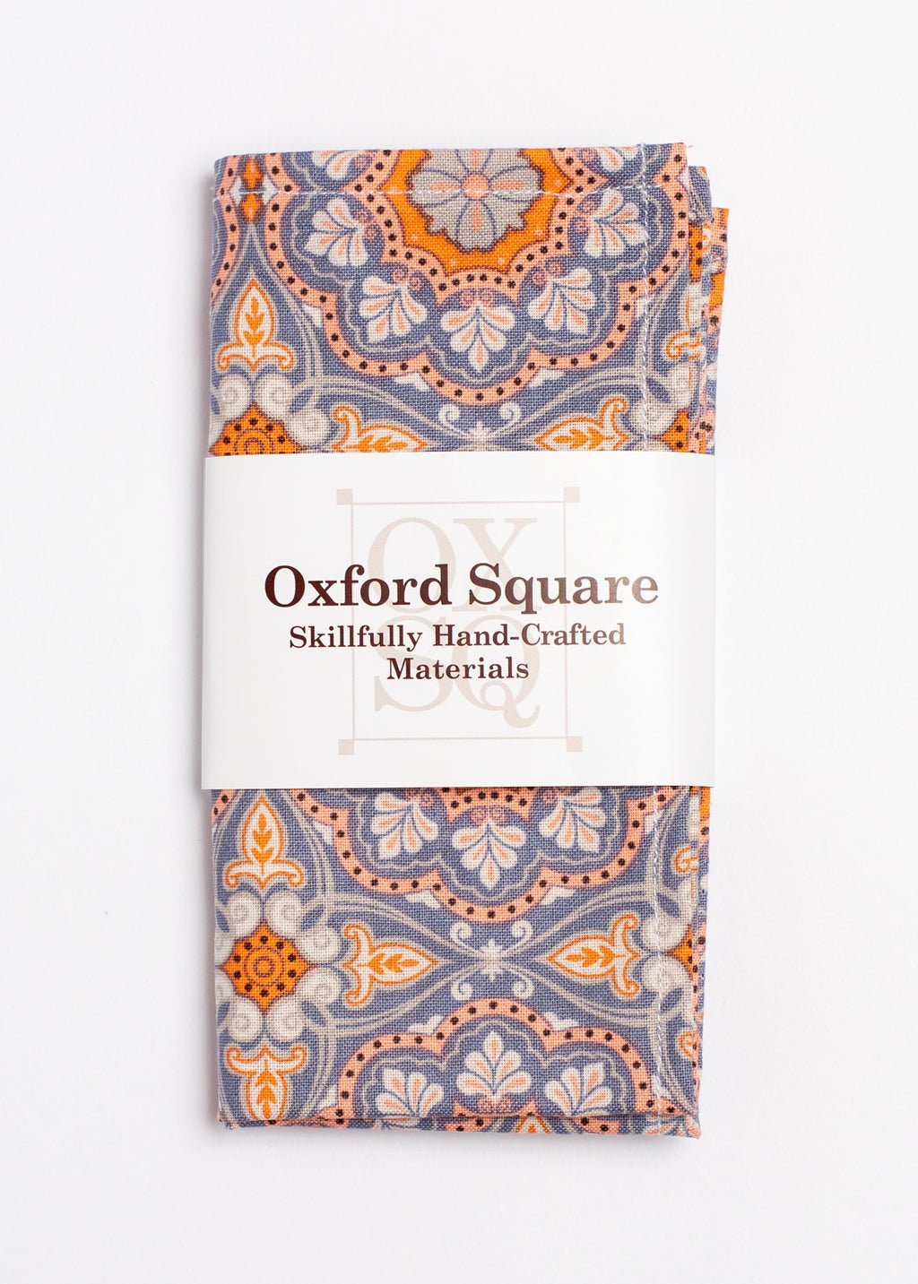 orange, blue and gray medallion pattern pocket square - Oxford Square