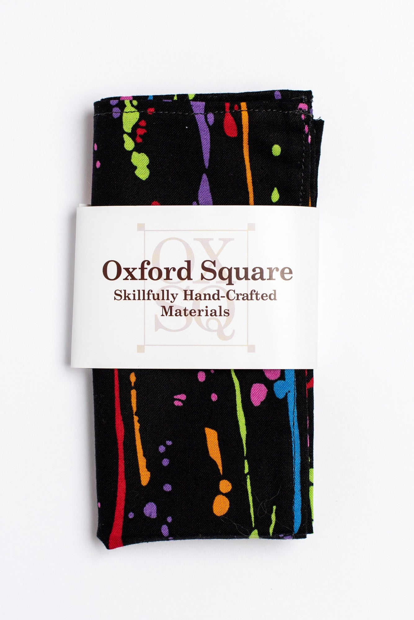 Black, green, purple, red, orange, blue and pink striped pattern pocket square - Oxford Square