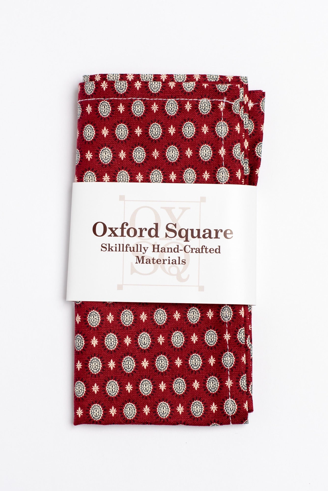red and white foulard pattern pocket square - Oxford Square