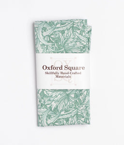 Green and white floral pattern pocket square - Oxford Square