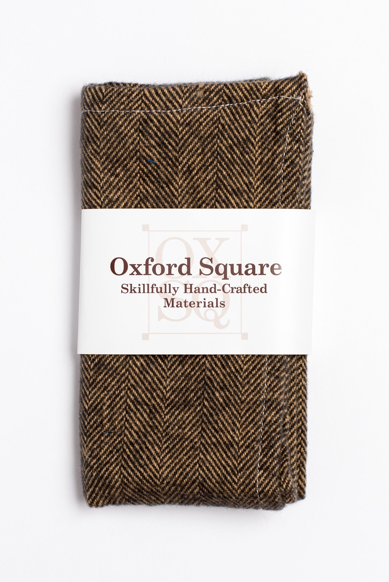 brown herringbone pattern pocket square - Oxford Square