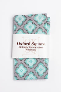 Green and gray trellis pattern pocket square - Oxford Square
