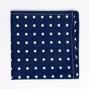 blue and white polka dot pattern pocket square - Oxford Square