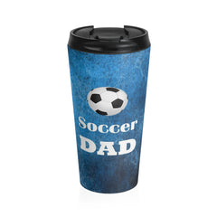 Soccer Dad Stainless Steel Travel Mug, Blue