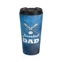 Baseball Dad Stainless Steel Travel Mug, Blue