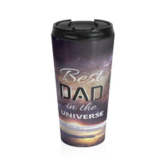 Best Dad in the Universe Photo Stainless Steel Travel Mug, Black