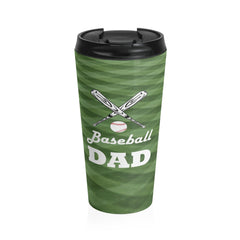 Baseball Dad Stainless Steel Travel Mug, Green