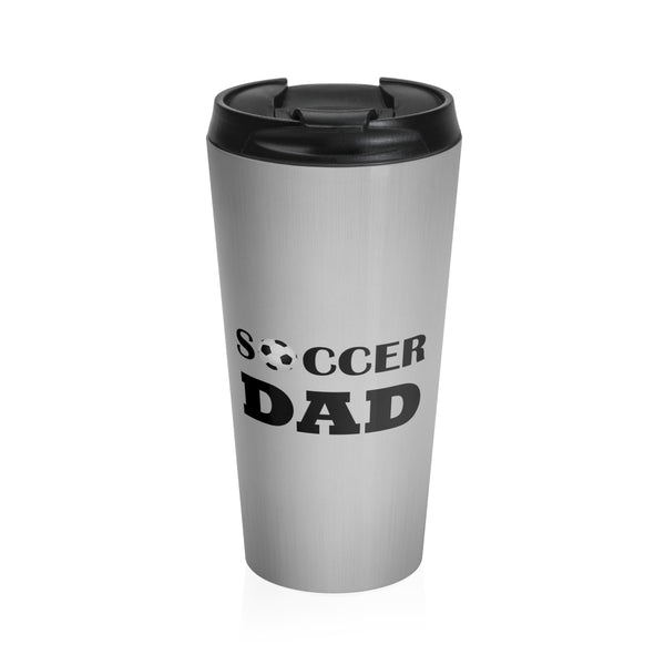 Soccer Dad Stainless Steel Travel Mug, Silver