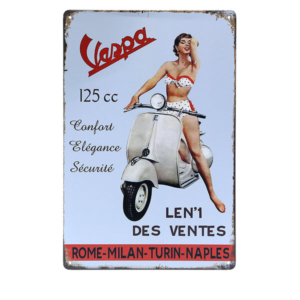 20x30cm  Plaque Retro Metal Tin Sticker VESPA