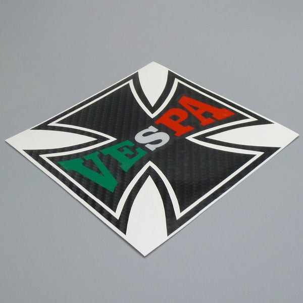 12cm x 12cm  Iron Cross Vespa Motorcycle Sticker