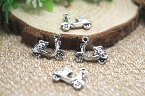 15pcs--Scooter Charms  Antique Tibetan Silver Tone Motorbike Vespa