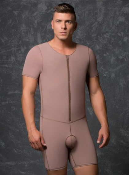 11018 Male Body Girdle w/Frontal Zipper & sleeves