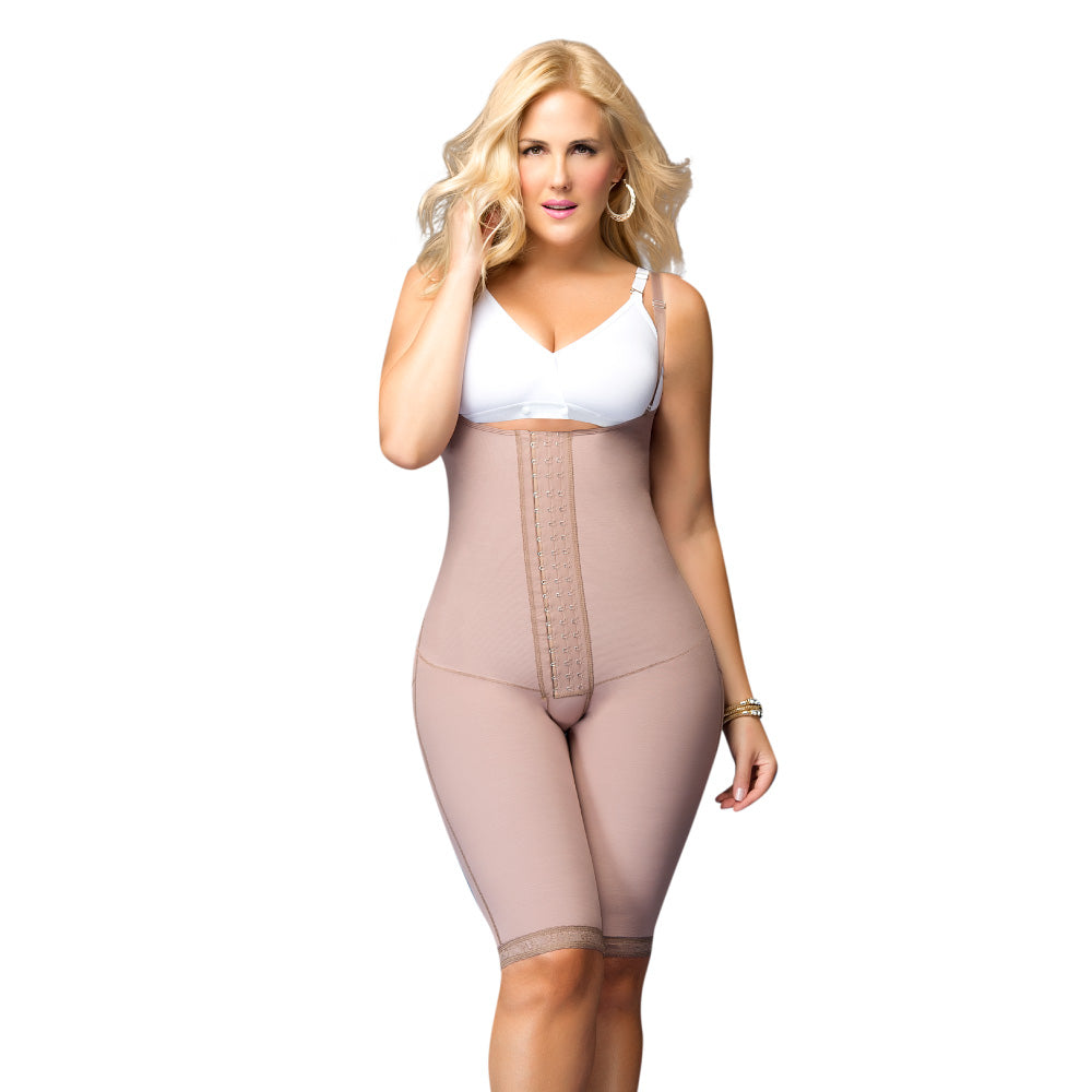 11105 Strapless Body Girdle W/Front Panel to the Knee
