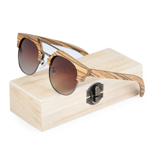 Polarized Retro UV400 Vintage Sunglasses in Wooden Gift Box - That's So Handy