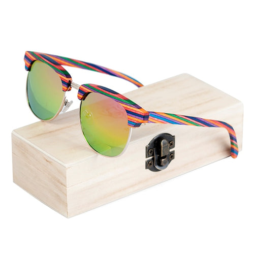 Colorful Stripe Wooden Sunglasses - That's So Handy