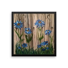 Framed poster Wood Fence Flowers