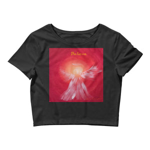 Women's Crop BELIEVE Angel Tee