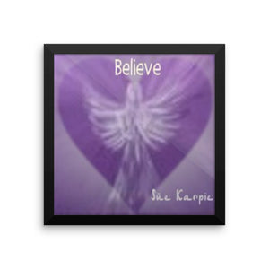 Framed Photo paper BELIEVE Angel-HEARTs poster