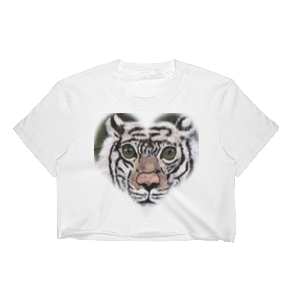 Women's Crop White Tiger Top