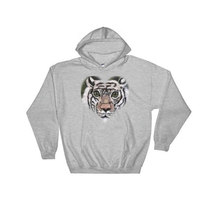 Hooded Sweatshirt White Tiger Head Shot