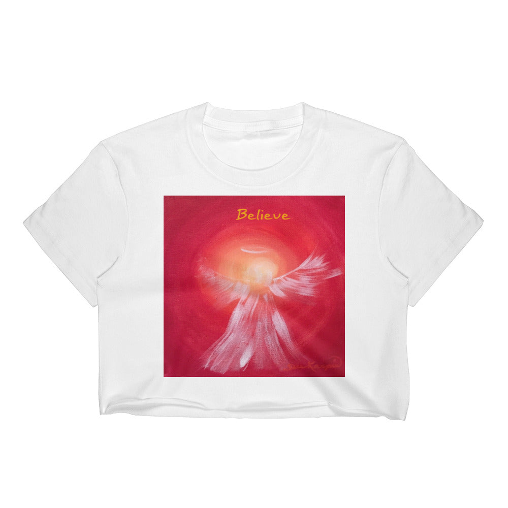 Women's BELIEVE Angel Crop Top