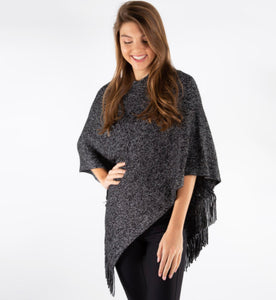 Knit Poncho With Fringes