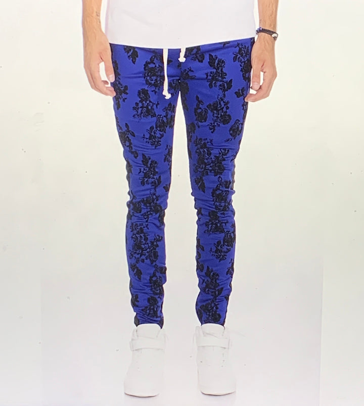 Floral Trackpants in Royal Blue