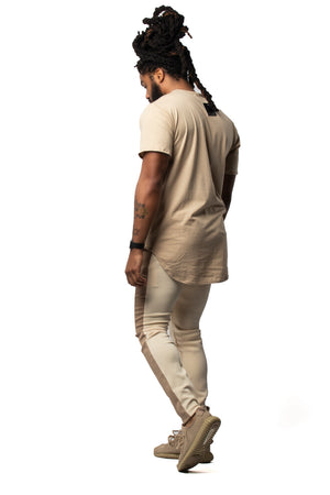 Yes Lawd Curved Hem Tee in Tan & White
