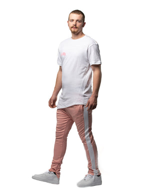 Yes Lawd Curved Hem Tee in White & Pink