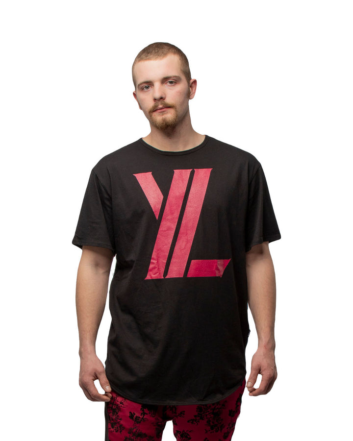 YL Curved Hem Tee in Black & Burgundy