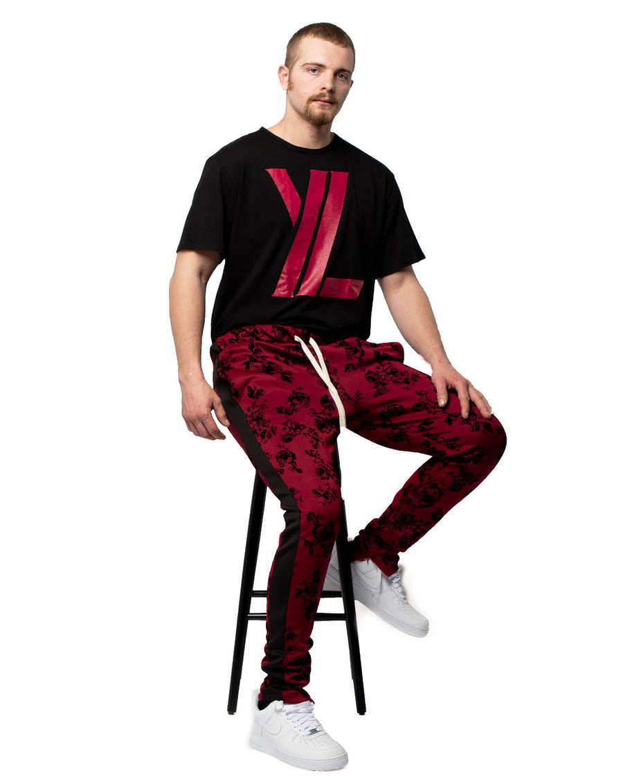Floral Trackpants in Burgundy