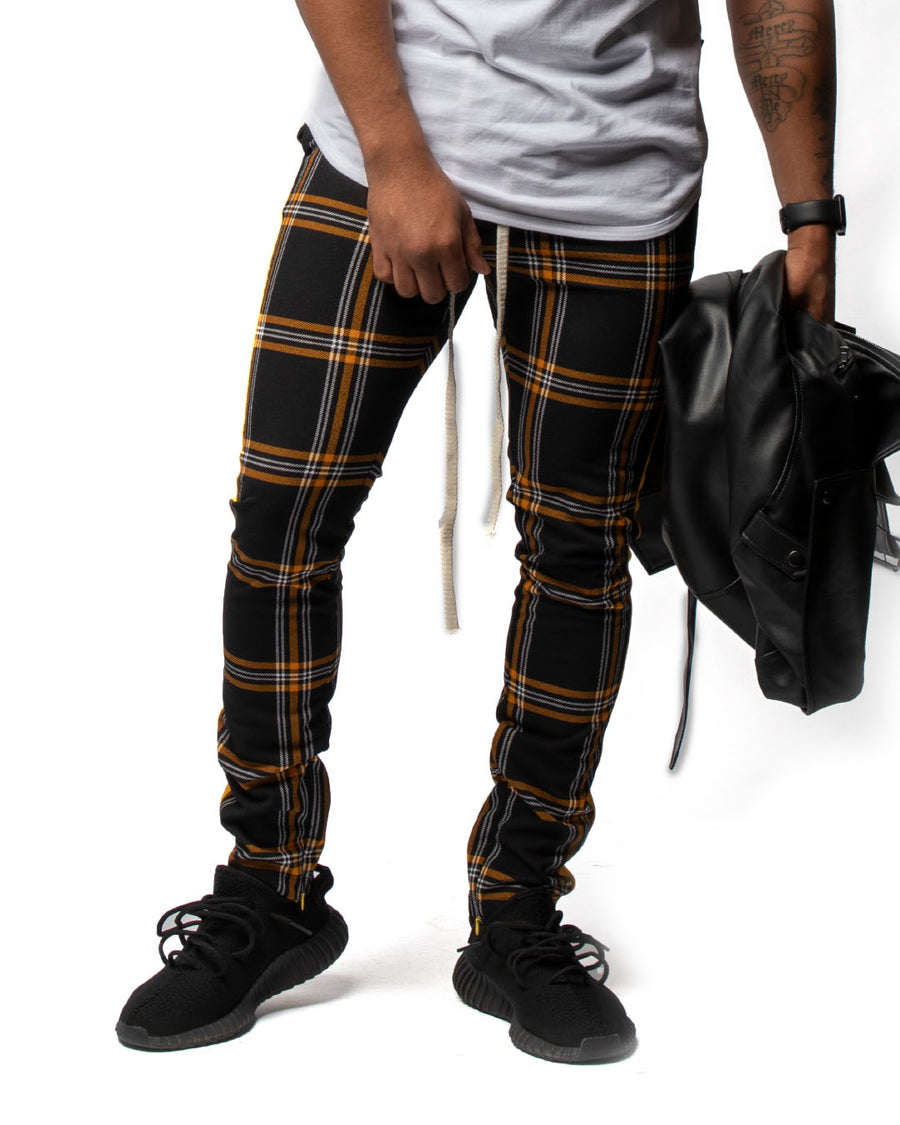 Staple Trackpants in Plaid & Yellow