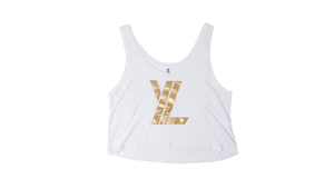 YL Logo Cropped Tank Top in White/Gold