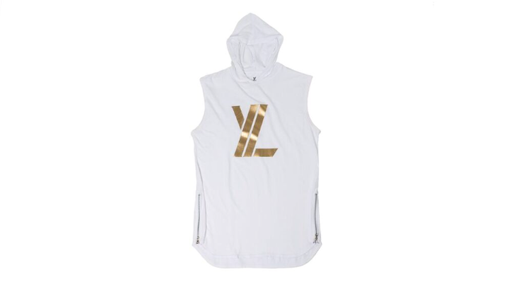 YL Logo Sleeveless Hoodie in White & Gold
